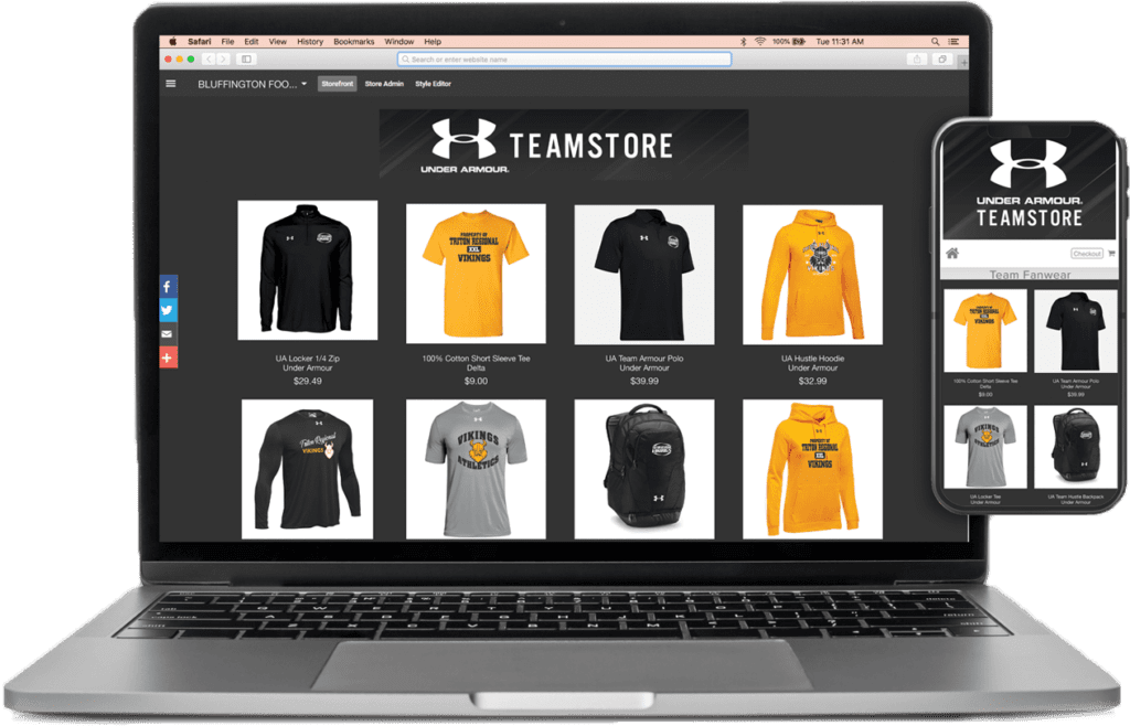 ARES Sportswear provides online team stores for custom apparel campaigns